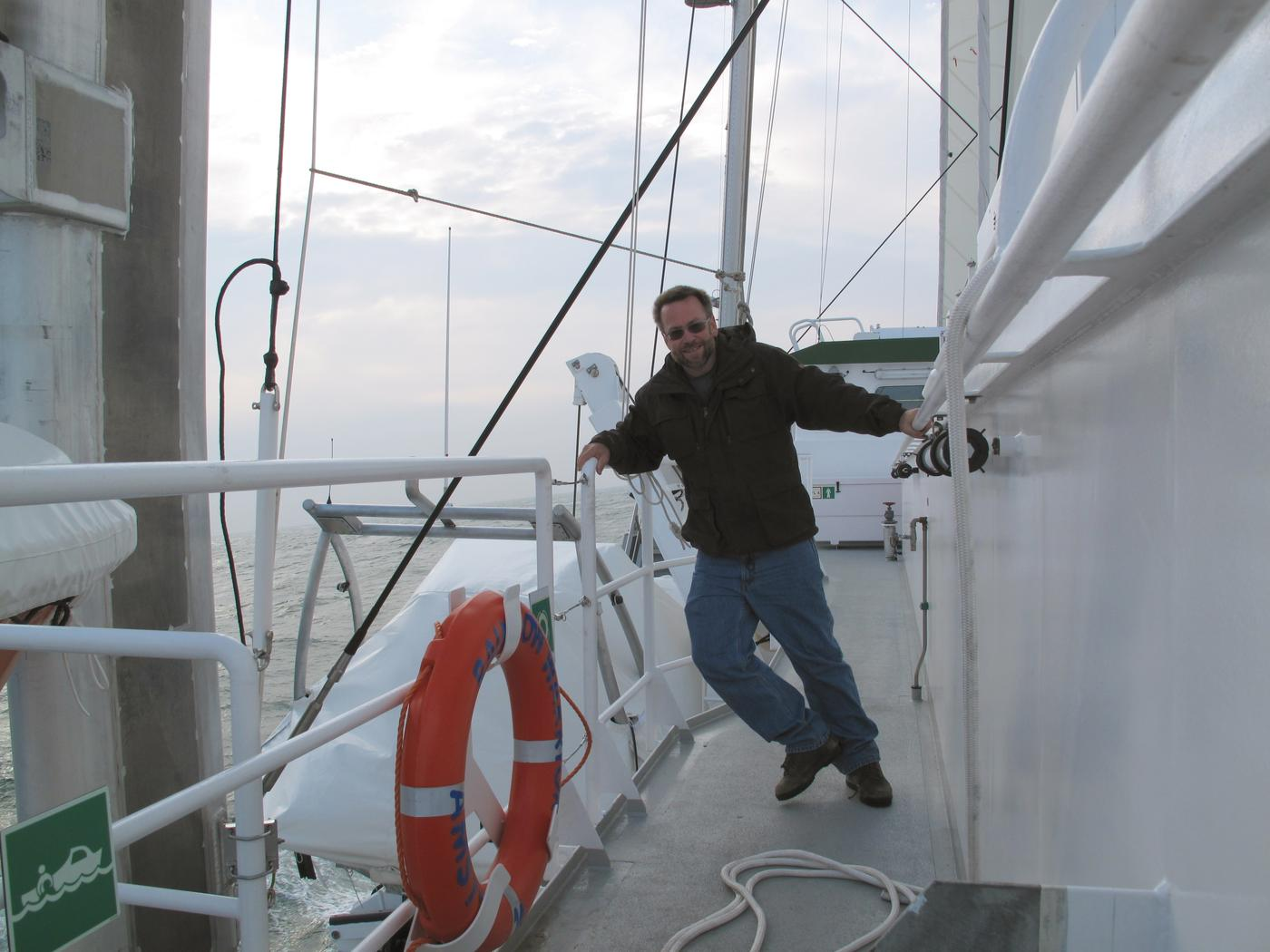 Brian Fitzgerald aboard the Rainbow Warrior